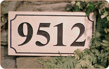 Engraved Address Stone Marker With Recessed Lettering