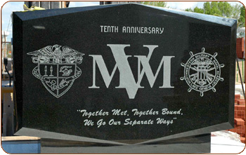 Logos On Black Granite Memorial
